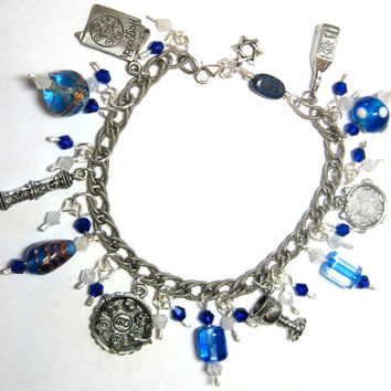 "Beautiful Pesach Charm Bracelet Sterling Chain Links Pewter Charms Passover Jewish 8.5"" Judaica Seder OOAK"