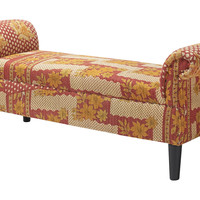 Kantha Roll-Arm Bench, Cream/Red, Bedroom Bench