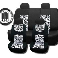 New and Exclusive Mesh Animal Print Interior Set White Zebra 11pc Seat Covers Front & Back Lowback, Back Bench, Steering Wheel & Seat Belt Covers - Padded Comfort