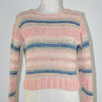 90s cropped striped sweater / vintage 1990s hand knit silk sweater / Pink and Blue jumper