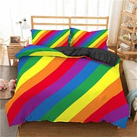 3D Rainbow Stripe Printed Comforter Bedding Sets Modern Geometric Twin Queen Size Polyester Duvet Cover For home decor