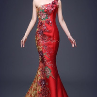 One Shoulder Chinese Embellished Mermaid Gown