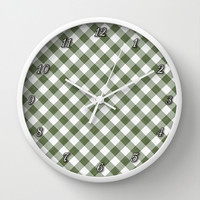 Cactus Garden Gingham 1 Wall Clock by Christopher Johnson