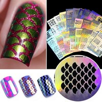 YZWLE 1Pc Hollow Out Nail Art DIY Tips Guides Transfer Stickers Accessories French Tips Nails Decal Decoration