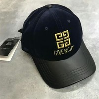 GIVENCHY Trending Women Men Velvet Stereoscopic Embroidered Leather Trimmed With Drill Adjustable Pull Ring Hat Cap Dark Blue I-A-HRWM