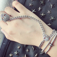Skeleton Bracelet Hand Chain Double Skull Jewelry Punk Goth Ring Silver