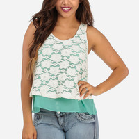 Cheap Trendy Mint Layered Lace Top in TOPS