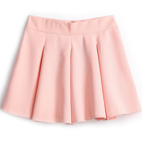 Pink Simple Design Pleated Skirt - Sheinside.com
