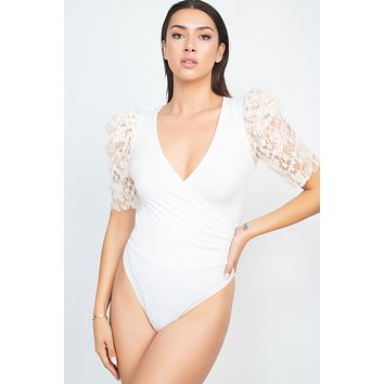 Lace-trim Puff Sleeves Bodysuit Bright Nude
