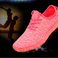 Fashion White Black RED Flat LED Casual Shoes 2015 New High-top Plus Size Led Shoes Women and Men 8 colors Light Shoes
