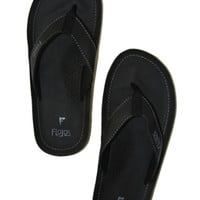 Cyrus Sandals for Men, Leather with Toe Grip, Black - Island Importer