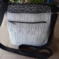 Handcrafted Black and White  Cross Body Shoulder Bag/Sling Bag/Purse with Outside Pockets and Zipper Close