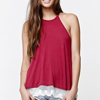 LA Hearts Lace Trim Swing Racerback Tank Top - Womens Tees