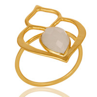 Rainbow Moonstone 18K Gold Plated Sterling Silver Art Deco Style Designer Ring