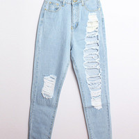Light Blue Denim Frayed Harem Pants