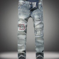 New Fashion Summe Mens Holes Jeans Patch Slim Fit Skinny Ripped Men Jeans Streetwear Vintage Jeans Size 28 38