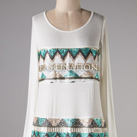 Tribal Sequined Knit Top - White