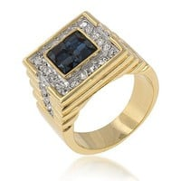2.9ct CZ 18k Gold Sapphire Square Men's Ring
