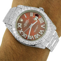 Datejust 2 Stainless Steel Rolex Watch Diamond Dial Full Iced Out Brand New