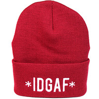 1st Class IDGAFI dont give a fck Beanie in red