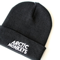 Arctic Monkeys Beanie without bobble Hat AM R U mine logo band gig chart bobble hat B001