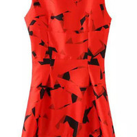 Red Geometrical Printed Sleeveless Sweet Graceful Mini Dress