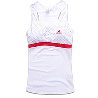 Trendsetter Adidas Woman Fashion Print Gym Sport Cotton Sleeveless Tunic Shirt Top Blouse