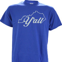 Yall w/ State of KY on a Blue Short Sleeve T Shirt