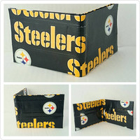 Small Black and Yellow Pittsburgh Steelers Men's Wallet - Billfold Wallet - Bifold Wallet - Christmas Gift Ideas for Men - Stocking Stuffers