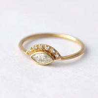 Marquise Diamond Engagement Ring with Pave Diamonds Crown - 0.25 Carat Marquise Diamond - 18k Solid Gold
