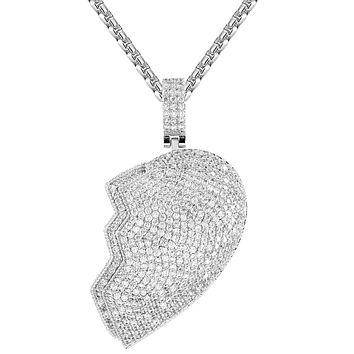 Silver Broken Love Heart Shape Micro Pave Custom Pendant
