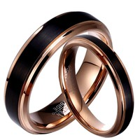 Soul Men 1 Pair Tungsten Carbide Wedding Band Black & Rose Gold Color Couple Rings Set 6mm for Male 4mm for Female