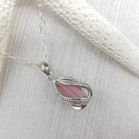 Tear drop cage locket necklace, genuine seaglass necklace, sterling silver necklace, ready to ship