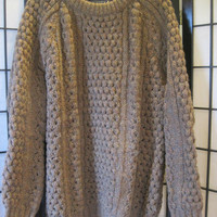 Vintage 1970s Sweater Made in Ireland Brown Wool Extra Large Unisex Fishermen Knit Racquet Club XL