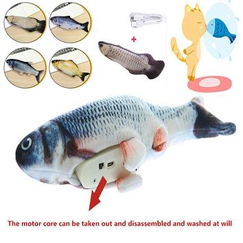 3D Fish Shape Cat Toy Interactive Gifts Fish Catnip Toys Stuffed Pillow Doll Simulation Fish Playing Toy For Pet USB Charging