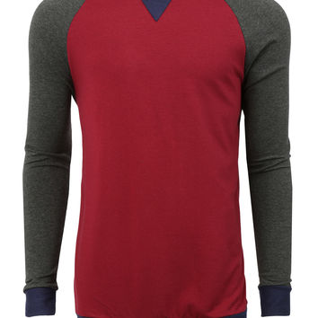 LE3NO Mens Casual Round Neck Long Sleeve Color Block Sweatshirt Top