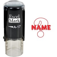 Round Teacher Stamp - NAME (Question Mark) - RED INK