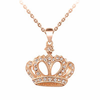 Silver Gold Plated Pendant Necklaces Rhinestone Crystal Crown Necklace Classic Chokers Necklace Jewelry For Women SM6