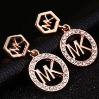 MK Michael Kors Popular Women Classic Round Full Diamond Letter Logo Earrings