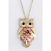 Pink and Gold Owl Pendant Necklace