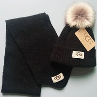 UGG Fashion Girls Boys Children Crochet Hat Scarf Set Two-Piece