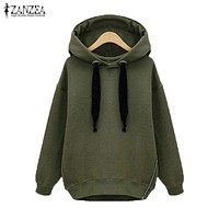 ZANZEA Winter Coats 2017 Jacket Women Long Hooded Sweatshirts Coat Casual Zipper Outerwear Hoodies Sweatshirt Plus Size 3 Style