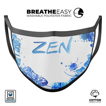 Abstract Watercolor Blue Feather Circle - Made in USA Mouth Cover Unisex Anti-Dust Cotton Blend Reusable & Washable Face Mask with Adjustable Sizing for Adult or Child