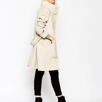 ASOS Coat in Trapeze with Rib Detail