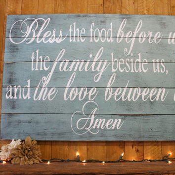 Bless The Food Before Us Pallet Sign Kitchen Sign Dining Room Sign Distressed Wood Sign Farmhouse Sign Cottage Chic Shabby Chic Wall Decor