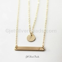 Set of 2 Gold Double Strand Initial Necklace, Initial Bar Necklace, Layered Necklaces, Personalized Initial Necklace, Bar Necklace