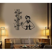Vinyl Decal Geisha Sushi Oriental Decor Asian Restaurant Wall Stickers Unique Gift (ig2782)