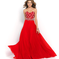 Blush Prom 10004 Red Valentine Strapless Beaded Chiffon Gown