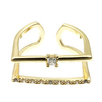 Gold Square Crystal Ring