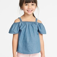 Off-the-Shoulder Chambray Top for Toddler Girls|old-navy